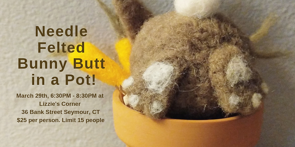 Needle Felted Bunny Butt in a Pot