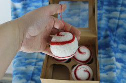 Red and White Swirl Ball Ornaments
