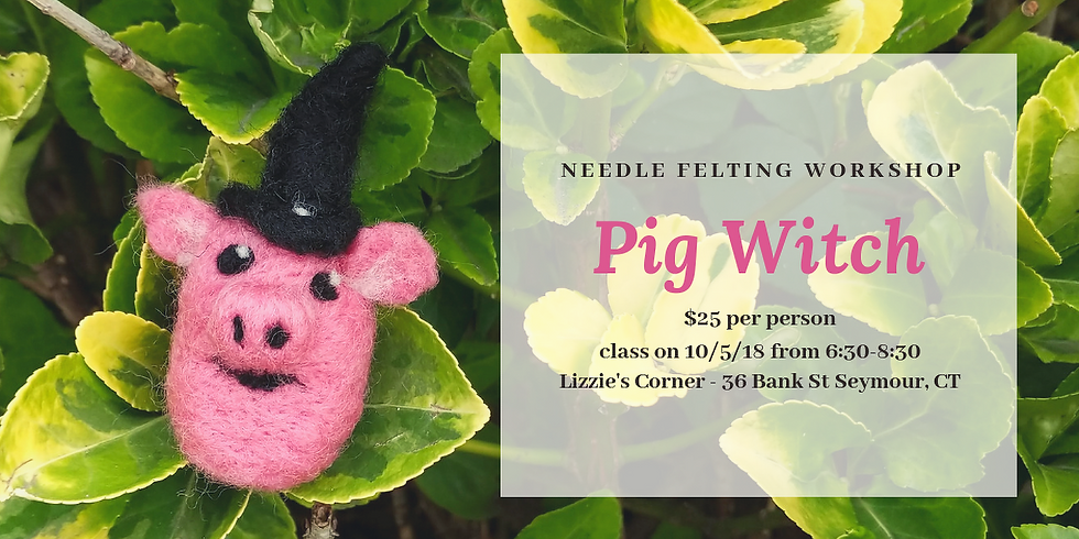 Needle Felted Pig Witch