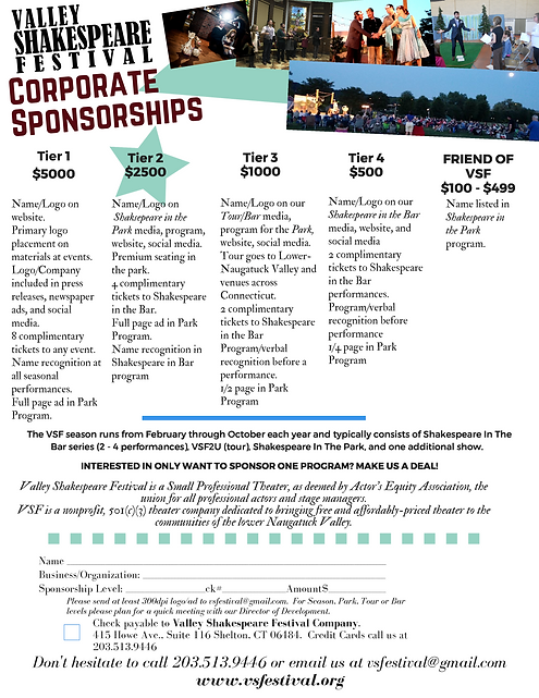 Valley Shakespeare Festival Sponsorship