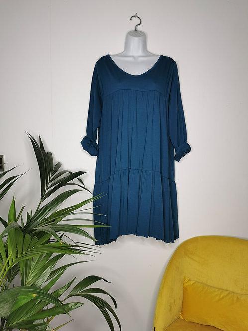 Robe en coton bleu canard TAMARA