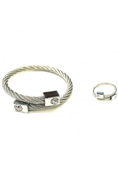 Coffret bijoux bracelet et bague acier TINA