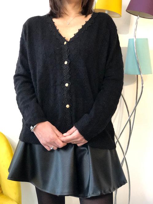 Pull gilet avec dentelle noir