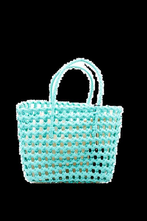 Panier turquoise effet crochet MILA