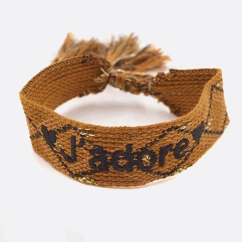 """Bracelet en coton """"J'adore"""""""