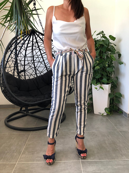 Pantalons à rayures en lin JOANNA