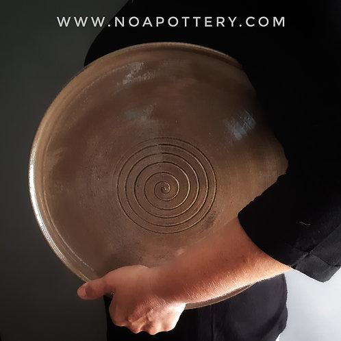 Serving dish. Big plate Ash glaze