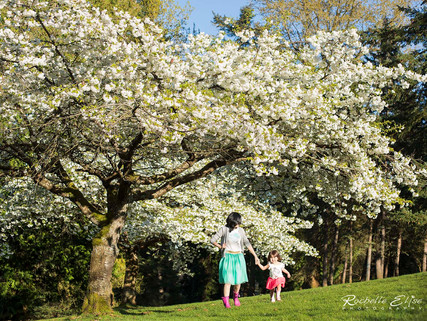 Winnie and Arianna loving and laughing in the glorious cherry blossoms.