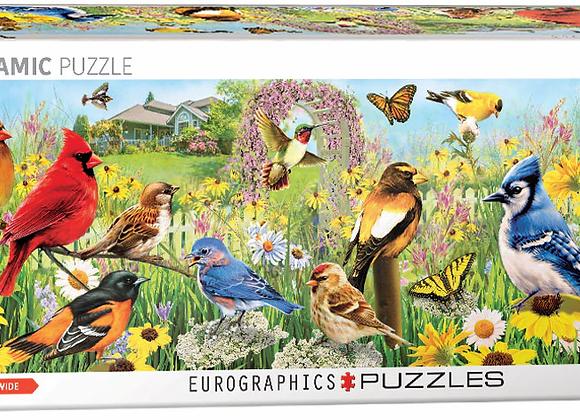 1000 Piece Panoramic Puzzle - Garden Birds