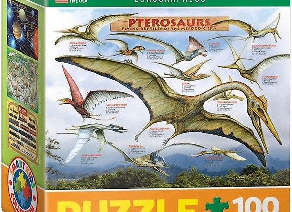 100 piece puzzle - pterosaurs flying reptiles