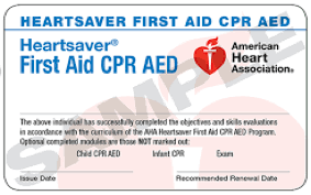 HeartSaver CPR & First Aid Certification eCard(s)