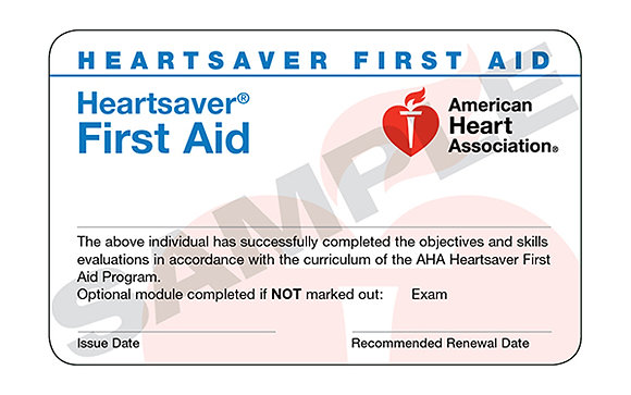 HeartSaver First Aid Certification eCard(s)