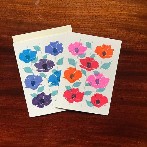 6 pcs Folded cards - blue & orange