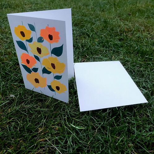 Flowers on folded card -yellow
