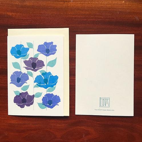 Flowers on folded card - blue