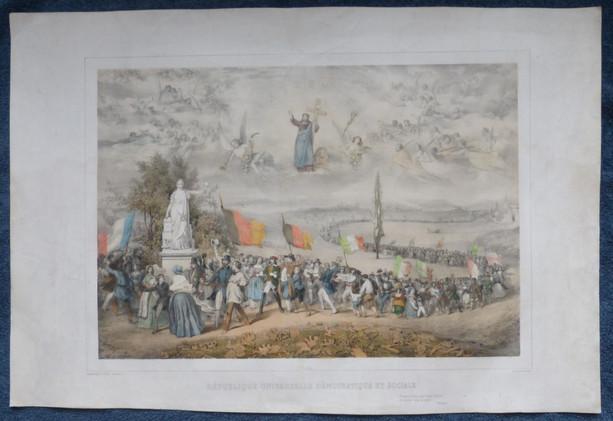 """1848   La République Universelle Démocratique et Sociale  Gravé par la """"Citoyenne Marie-Cécile Goldsmid """"(et non par Sorrieu)"""