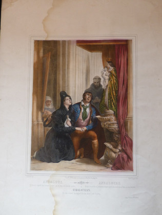 Lithographie gommée et aquarellée