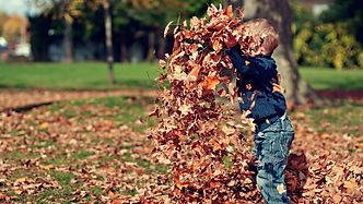 Child Jumping in Leaves Christian Stock