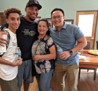 Kenyon and family with mentor Angrith