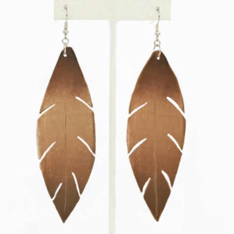 Feather Earrings-Brown