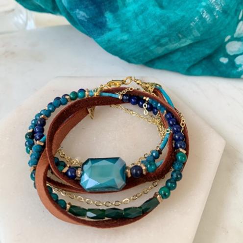 Bold Azure Leather Bracelet