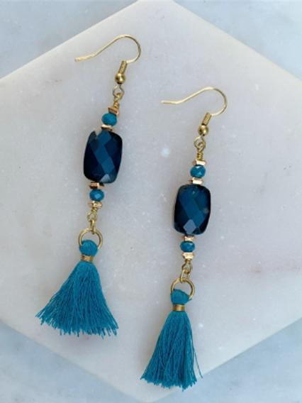 Bold Azure Tassel Earrings
