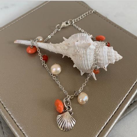 Seaside Ankle Bracelet-Coral