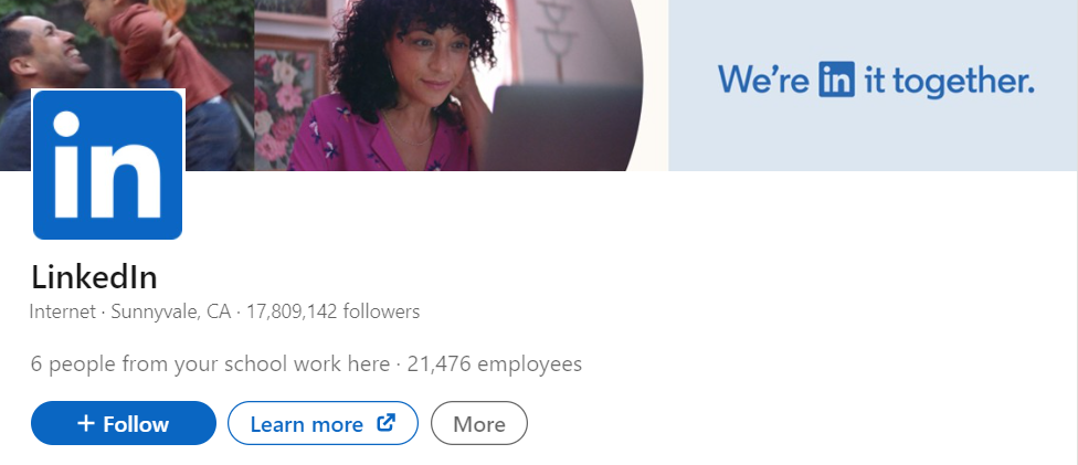 Screenshot of the top of LinkedIn's LinkedIn business page.
