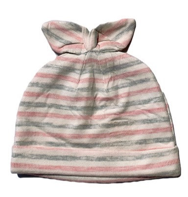Pink/White and Grey striped beanie