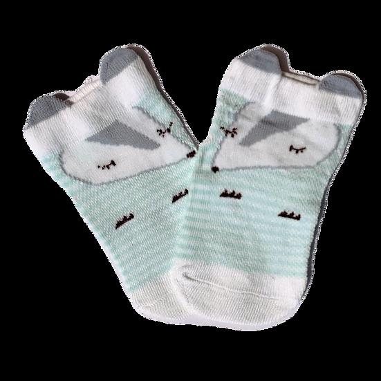 Turquoise & White Fox socks