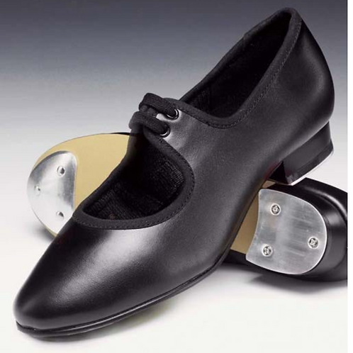 Leather Low Heel Tap Shoe with Heel Taps