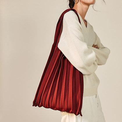 PLEATSMAMA knit pleats shoulder bag (burgundy)