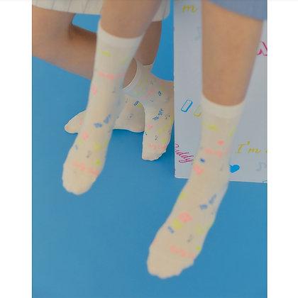 I HATE MONDAY Korean fashion socks (Mate Beige)