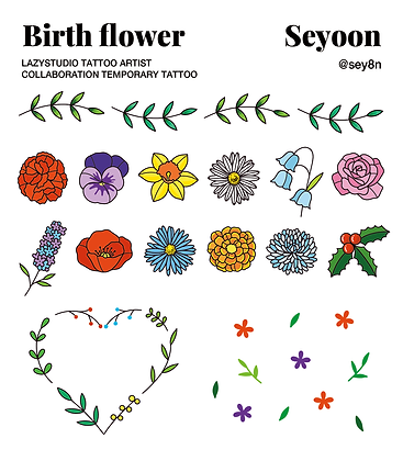 LAZYSTUDIO temporary tattoo sticker_Seyoon Birth Flower