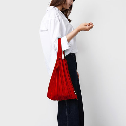 PLEATSMAMA knit pleats tote bag (red)