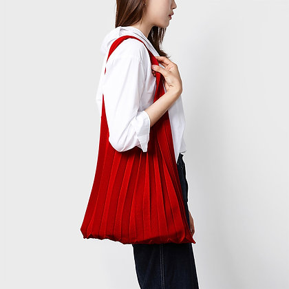 PLEATSMAMA knit pleats shoulder bag (red)