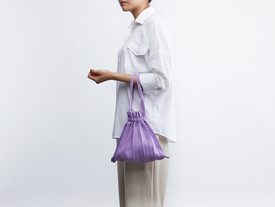 PLEATSMAMA knit pleats mini bubble bag (lavender)