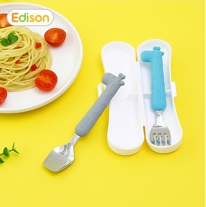 EDISON silicone spoon & fork case set for baby