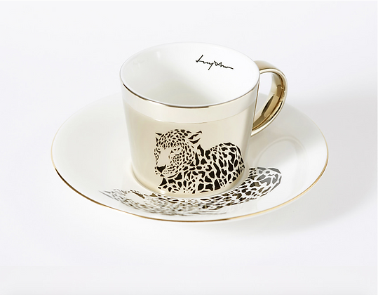 Luycho Cup & Amur Leopard gold round cup