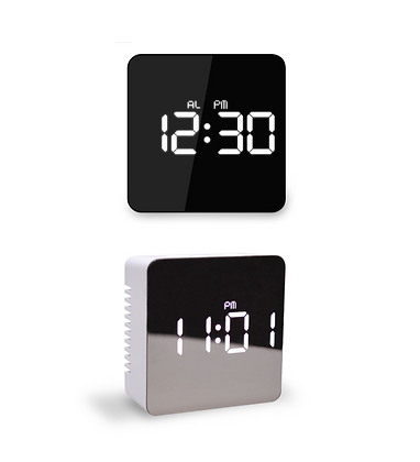MOOAS mirror clock square (standing Alarm Mode)