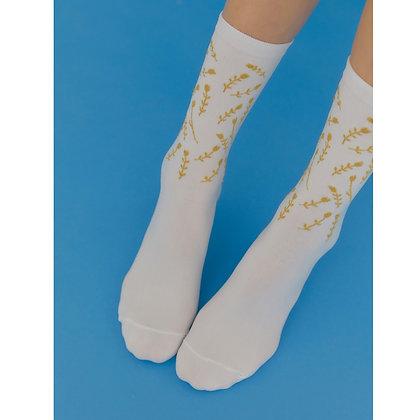 I HATE MONDAY Korean fashion socks (Szered gold)
