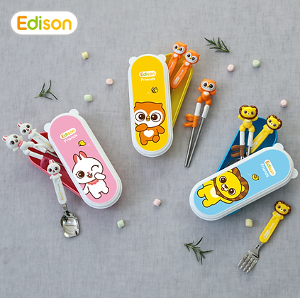 EDISON friends chopsticks easy hard case set with fork
