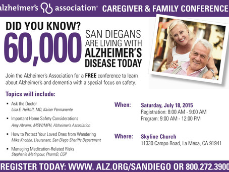 San Diego County Alzheimer's Association Caregiver & Family Conference on Saturday July 18