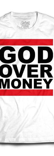 GOD OVER MONEY WHITE TEE