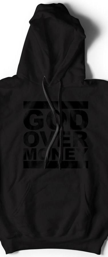 GOD OVER MONEY HOODIE (BLACK ON BLACK)