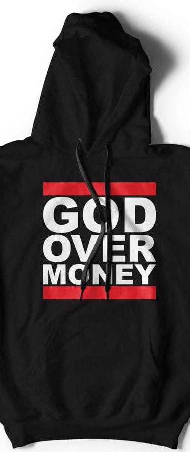 GOD OVER MONEY HOODIE (BLACK)