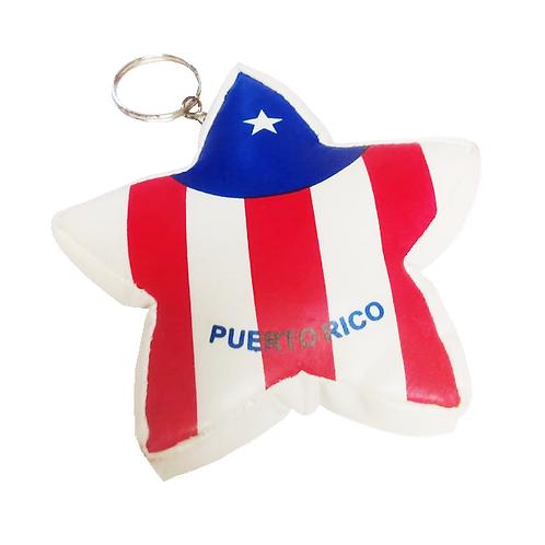 Puerto Rico Flag Star Keychain