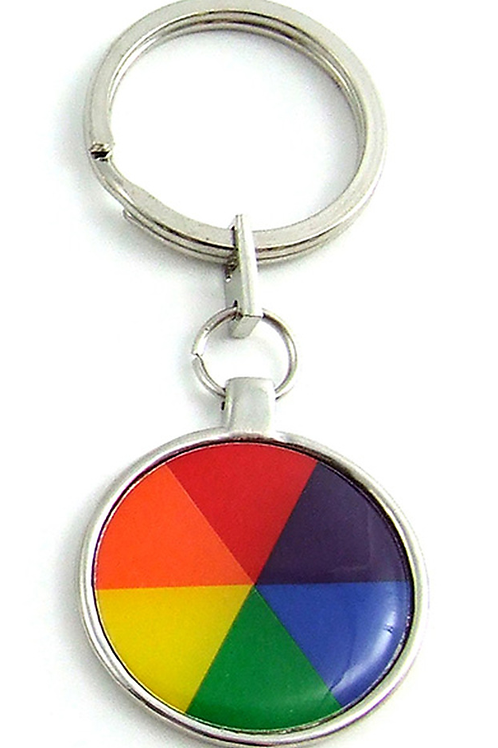 Rainbow Flag Pie Pewter Key Chain