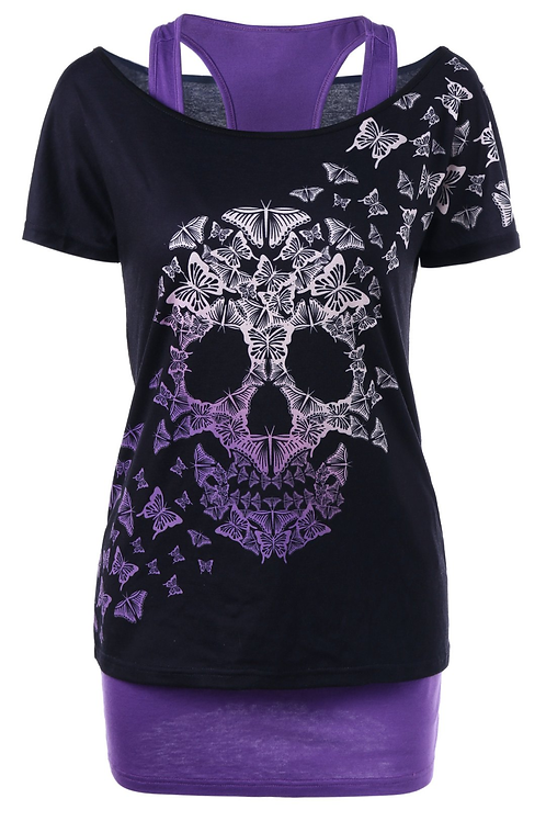 Butterfly Skull Night Vision T-Shirt
