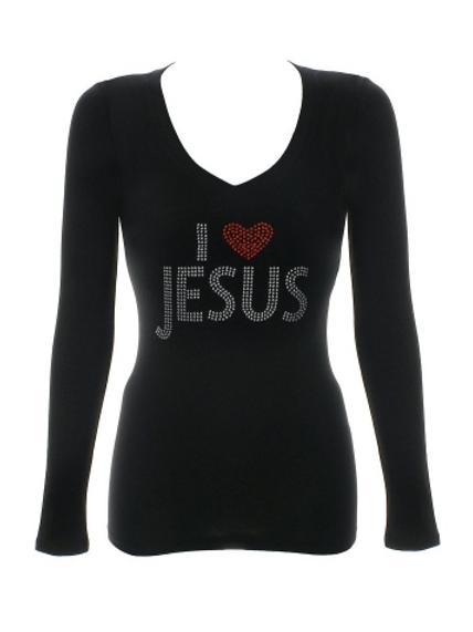 Rhinestone I Love Jesus V-Neck Shirt